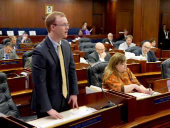 Rep. David Eastman, R-Wasilla, speaks during a House floor session in the Capitol in Juneau on March 29, 2019.