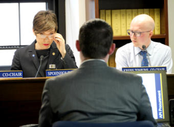 House Health and Social Services Committee co-chair Rep. Ivy Spohnholz, D-Anchorage, questions Chief Procurement Officer Jason Soza of the Department of Administration in a joint meeting with the House State Affairs Committee in Juneau on April 2, 2019. The committee was examining procurement procedures that led to a controversial contract to manage the Alaska Psychiatric Institute. Rep. Jonathan Kreiss-Tomkins, D-Sitka, co-chair of the House State Affairs Committee is on the right.