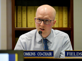 House State Affairs Committee co-chair Rep. Jonathan Kreiss-Tomkins, D-Sitka, questions representatives of the Dunleavy administration at a joint meeting with the Health and Social Services Committee in Juneau on April 2, 2019. The committees were examining procurement procedures that led to a controversial contract to manage the Alaska Psychiatric Institute.