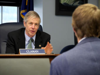 Rep. Matt Claman, D-Anchorage, questions Chad Hutchison, counsel for the Senate Majority, at a free conference committee in the Capitol in Juneau on April 22, 2019. They were discussing Senate Bill 89, which would change the law regarding conflicts of interest involving legislators, family members, employers and potential employers.