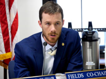 House State Affairs Committee co-chair Rep. Zack Fields, D-Anchorage, questions Dunleavy administration representatives at a joint meeting with the Health and Social Services Committee in Juneau on April 2, 2019. The purpose of the meeting was to examine procurement procedures that led to a controversial contract to manage the Alaska Psychiatric Institute.