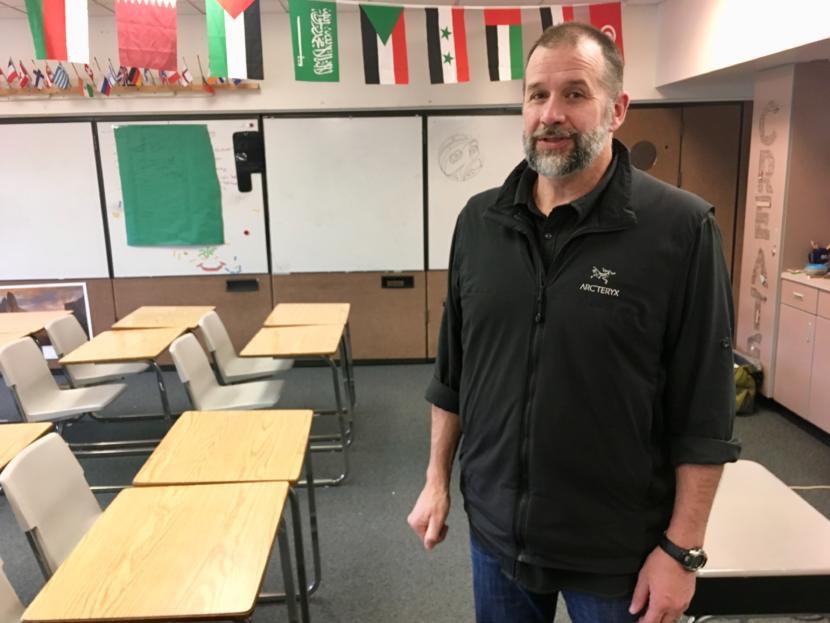 Jay Lloyd in his classroom at Dzantik'i Heeni Middle School on April 17, 2019. (Photo by Zoe Grueskin/KTOO)