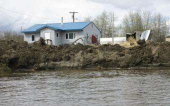 Erosion in Akiak swallowed 75-100 feet of riverbank along the village on May 20, 2019.