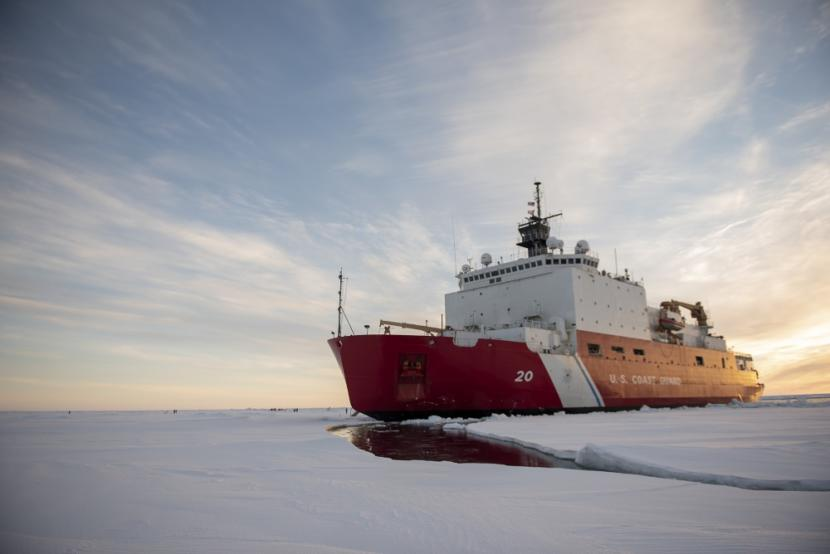The U.S. Coast Guard Cutter Healy in the ice Wednesday, Oct. 3, 2018, about 715 miles north of Utqiaġvik, Alaska, in the Arctic.