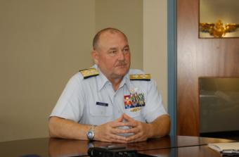 Coast Guard Commandant, Adm. Thad Allen takes question during an interview at the Coast Guard Academy, Sept. 8, 2006.