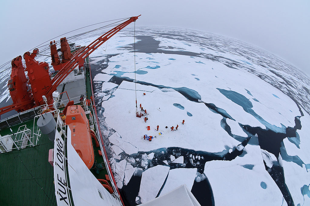 Drift ice camp in the middle of the Arctic Ocean as seen from the deck of icebreaker XueLong, July 2010.