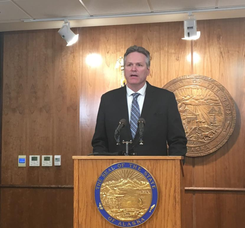 Alaska Gov. Mike Dunleavy describes his plans for a special session on the budget, education funding and criminal justice legislation, May 15, 2019. (Photo by Andrew Kitchenman/KTOO and Alaska Public Media)