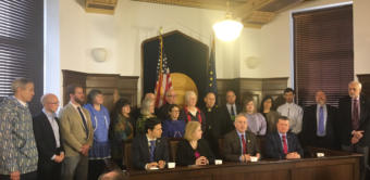The Alaska House majority caucus holds a press conference about their approach to the closing days of the legislative session, May 10, 2019. (Photo by Andrew Kitchenman/KTOO and Alaska Public Media)