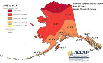 Graph showing long-term warming trends in Alaska.