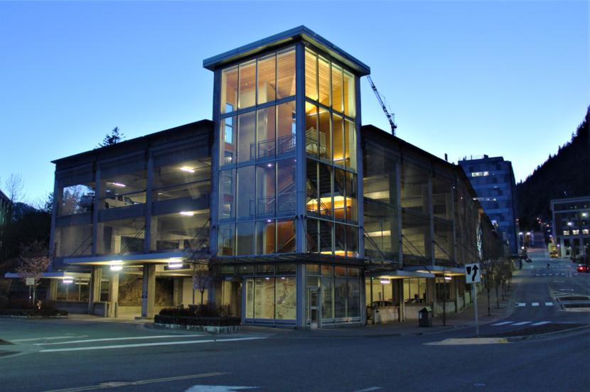 The City and Borough of Juneau is considering a plan to build a new City Hall on top of the Downtown Transportation Center parking garage. (Photo by Adelyn Baxter/KTOO)