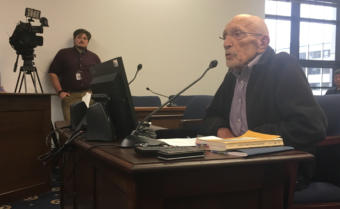 Vic Fisher, the sole surviving member of the 1955 Alaska constitutional convention, testifies in a House State Affairs Committee hearing, May 7, 2019. Fischer opposes three constitutional amendment proposals by Gov. Mike Dunleavy. Fischer's 95th birthday was two days earlier.