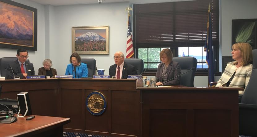 The Senate Rules Committee discusses Senate Bill 1002, which would set this year's permanent fund dividend at $1,600. Sen. John Coghill, R-North Pole, center, is the committee chair. June 3, 2019. (Photo by Andrew Kitchenman/KTOO & Alaska Public)