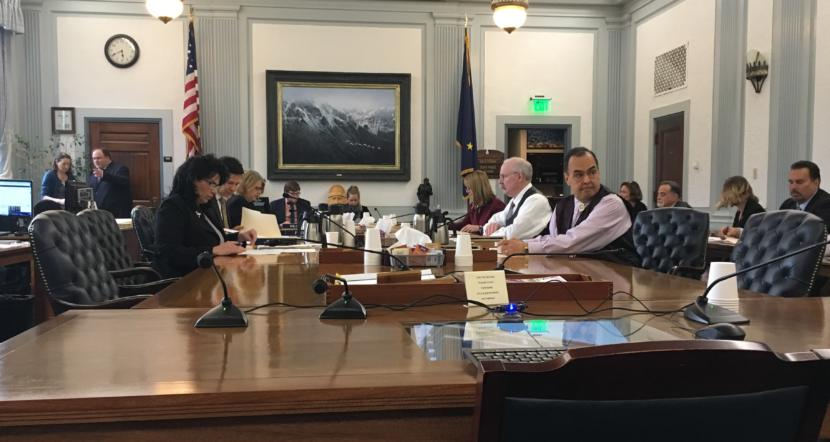 The Alaska budget conference committee members start their meeting on Saturday. The members are Rep. Cathy Tilton, R-Wasilla, Rep. Neal Foster, D-Nome, Rep. Tammie Wilson, R-North Pole, Sen. Natasha von Imhof, R-Anchorage, Sen. Bert Stedman, R-Sitka, and Sen. Donnie Olson, D-Golovin. (Photo by Andrew Kitchenman/KTOO and Alaska Public Media)