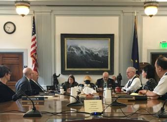 The bicameral working group on permanent fund earnings meets for the first time on June 12. The members are: Rep. Kelly Merrick, R-Eagle River; Rep. Jonathan Kreiss-Tomkins, D-Sitka; Rep. Adam Wool, D-Fairbanks; Rep. Jennifer Johnston, R-Anchorage, co-chair; Sen. Click Bishop, R-Fairbanks; Sen. Bert Stedman, R-Sitka; Sen. Shelley Hughes, R-Palmer; and Sen. Donny Olson, D-Golovin. (Photo by Andrew Kitchenman/KTOO and Alaska Public Media)