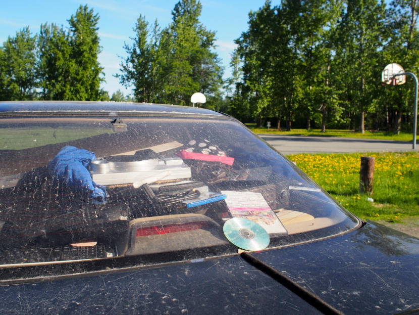 A car parked overnight and filled with possessions in Officer Brian Fuchs's normal patrol area. (Photo by Zachariah Hughes/Alaska Public Media)