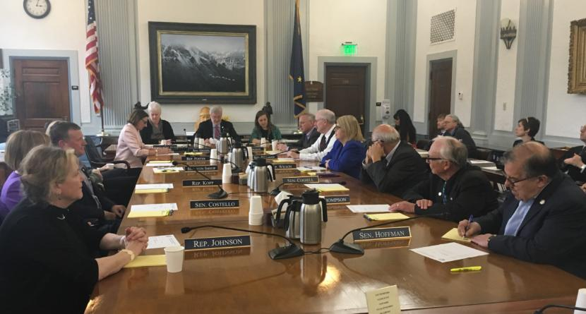 The Alaska Legislative Council meets to discuss a lawsuit over education funding and other matters, June 13, 2019. (Photo by Andrew Kitchenman/KTOO and Alaska Public Media)