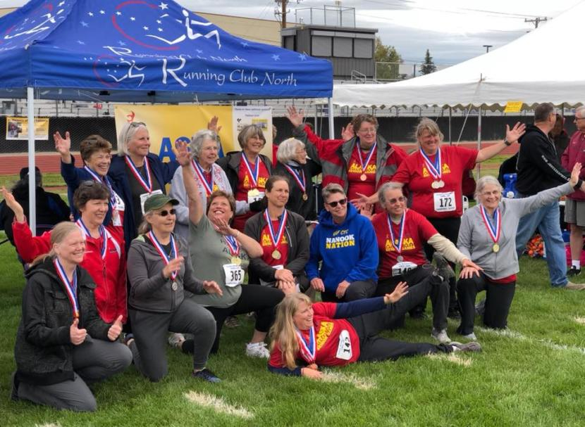The Alaska track and field competitors at the Alaska Senior Games in 2018.