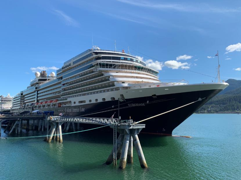 The Eurodam, a Holland America Line ship, sits in port on Monday, June 24, 2019. Video posted to Facebook on Monday appears to show the ship passing close to a pod of humpback whales. (Photo courtesy of Anjuli Sastry)
