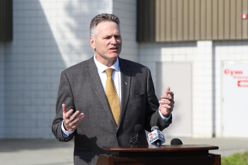 Alaska Gov. Mike Dunleavy speaks at a press conference outside Wasilla Middle School in Wasilla on June 14. The middle school is Dunleavy's suggested venue for a special session of the Alaska Legislature.