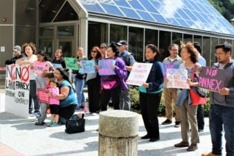 Current and former Angoon residents and supporters protest Juneau's application to annex portions of Admiralty Island on Friday, June 14, 2019. (Photo by Adelyn Baxter/KTOO)