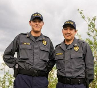 Quinhagak Tribal Police Officers John Peter and Phillip Charlie graduated from Rural Law Enforcement Training at Yuut Elitnaurviat in Bethel on June 14, 2019.