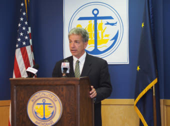 Mayor Ethan Berkowitz at a press conference in Anchorage City Hall announcing a civil emergency declaration.