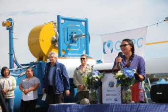 AlexAnna Salmon speaks at the launch ceremony of the RivGen commercial generator in Igiugig on July 16, 2019. (Photo by Isabelle Ross/KDLG)
