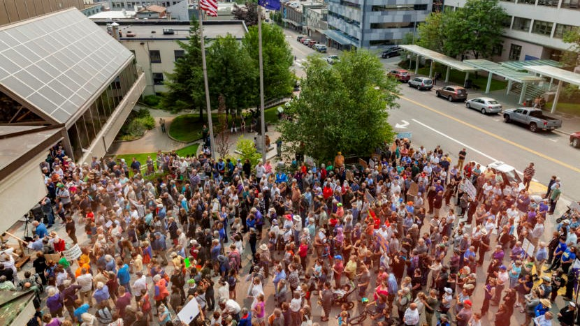 Juneauites turn out to protest budget cuts on first day of special session