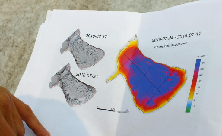Map of Suicide Basin shows change in water depth after last year's glacial dam release. Depths are in meters.