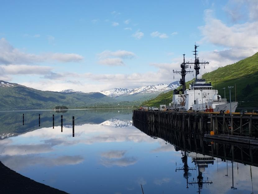 The Coast Guard Cutter Douglas Munro sits moored in its homeport in Womens Bay, Kodiak, Alaska, June 22, 2019.