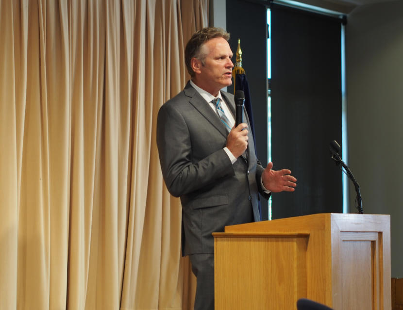 Gov. Mike Dunleavy announces to a lunchtime audience at the Chugiak-Eagle River Senior Center in Chugiak that he will restore funds for the Senior Benefits Payment Program.