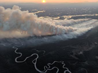 The McKinley Fire, as seen in an aerial photo, burns Sunday near the Parks Highway north of Anchorage.