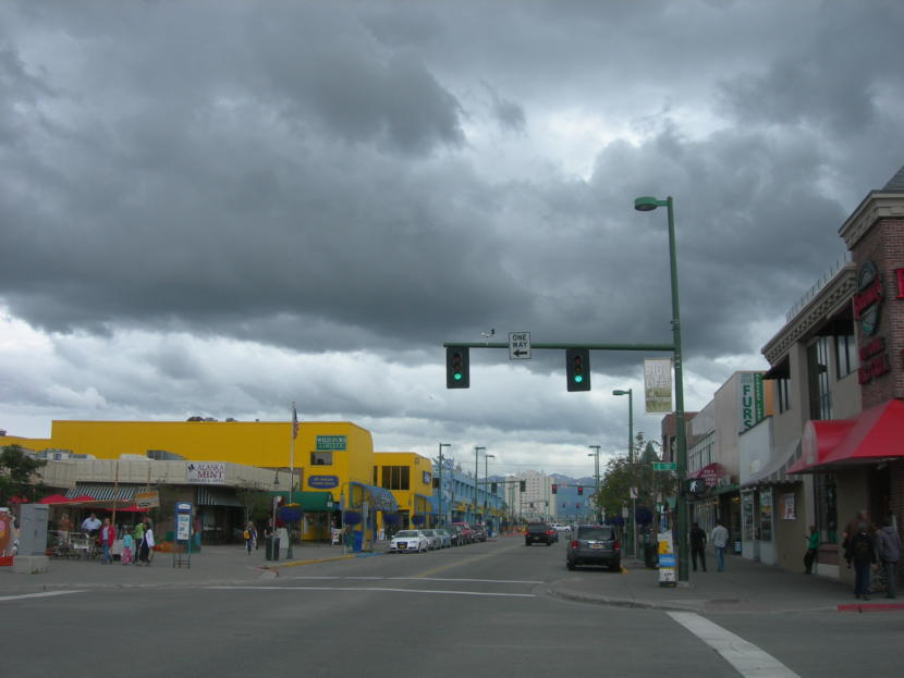 Rain clouds hang over downtown Anchorage in this July 2012 photo.