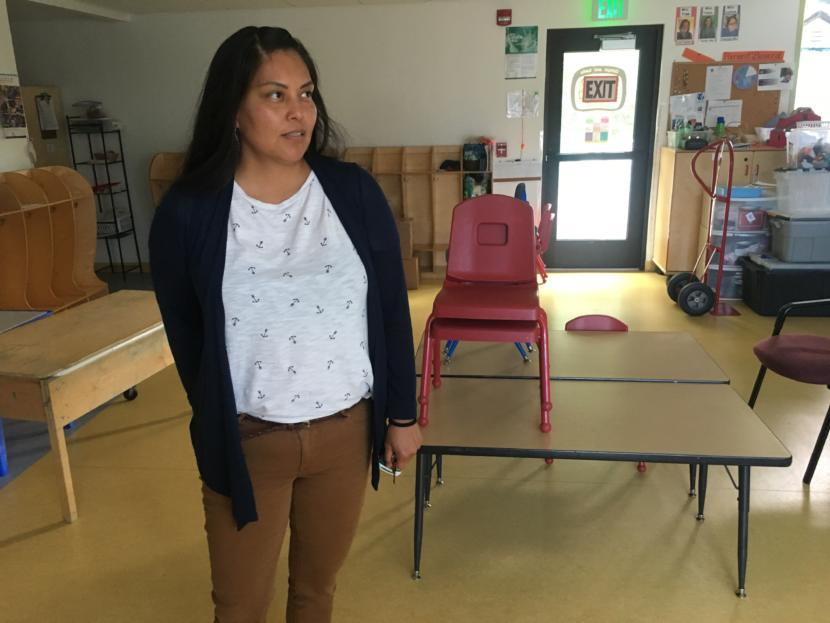 Amber Frommherz, director of Tlingit & Haida's Head Start program, pictured in one of five Juneau Head Start classrooms on July 24, 2019. (Photo by Zoe Grueskin/KTOO)