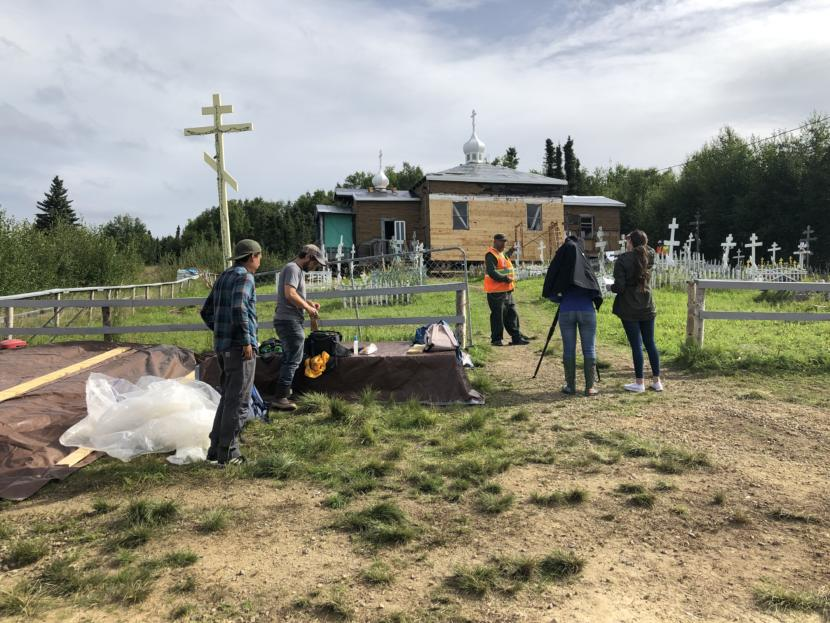 A Donlin Gold film crew interviews sub-deacon Eric Morgan Sr. about the Chuathbaluk church renovation paid for by Donlin.