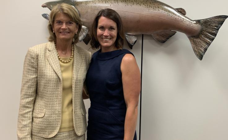 "On her trip to Washington, D.C. in July 2019, Elizabeth Siddon met with Alaska Senator Lisa Murkowski. They talked about Siddon's research on Bering Sea fisheries and climate change. Siddon said the Senator ""was really asking all the right questions and all the questions we're asking ourselves."" (Photo courtesy of Elizabeth Siddon)"