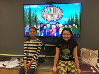 Nanibaa' Frommherz (left) and Isadora Kizer participated in a voice acting workshop led by creators of Molly of Denali, organized by the Central Council of the Tlingit and Haida Indian Tribes of Alaska, on Aug. 9, 2019. (Photo by Zoe Grueskin/KTOO)