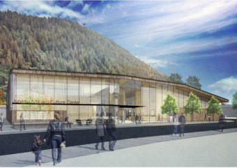 This design rendering shows how the new Juneau Arts and Culture Center may appear from the Andrew P. Kashevaroff Building.