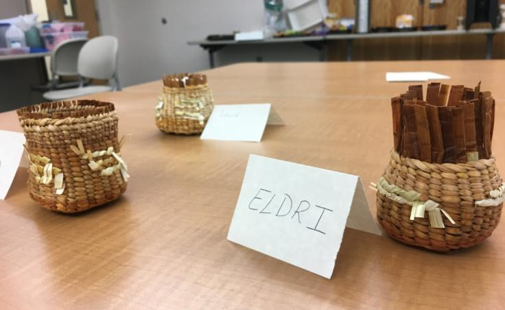 Baskets woven by students in a Sealaska Heritage Institute seminar for teachers on Northwest Coast arts and math, photographed on Aug. 8, 2019. (Photo by Zoe Grueskin/KTOO)