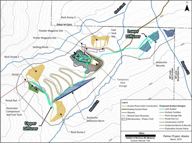 A map of the proposed excavation site, waste rock stockpiles and water diffusing system. (From the Application for Waste Management Permit for the Palmer Phase II Exploration Project.)
