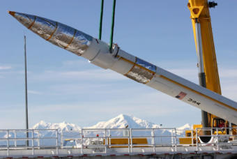 A ground-based interceptor missile is placed into position at the Missile Defense Complex in Fort Greely near Fairbanks.