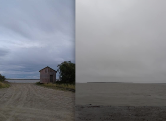 Side-by-side photos, taken from the same location, show the amount of riverbank lost in Napakiak over the past three years, comparing August 2016 to Aug. 4, 2019 following a heavy storm. (Photo by Andrew West via KYUK)