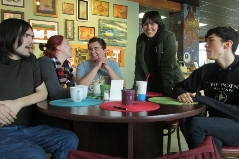 "Jacob Trumble, Holly Nore, Tyler Varner, ""Izm,"" and Austin Kalkins meet up in a casual support group for LGBTQ people in Ketchikan in 2014. (Photo by KRBD)"