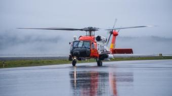 A Coast Guard Air Station Sitka MH-60 Jayhawk helicopter aircrew medevacs a 17-year-old male from Wrangell to Sitka, Alaska, July 17, 2018. The man was transported to awaiting emergency medical services personnel for further care.