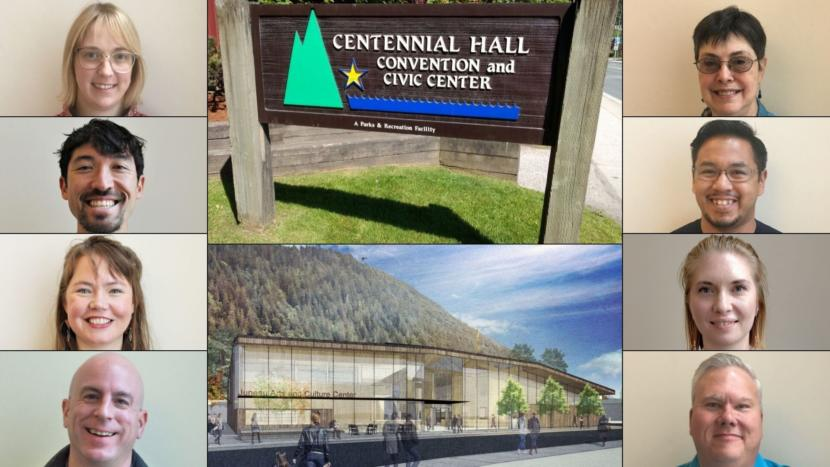 Portraits, clockwise from top right: Deedie Sorensen, Martin Stepetin Sr., Bonnie Jensen, Emil Mackey, Wade Bryson, Alicia Hughes-Skandijs, Greg Smith, and Carole Triem. Middle top: Centennial Hall on June 18, 2018. Middle bottom: A rendering showing what the new Juneau Arts and Culture Center may look like.