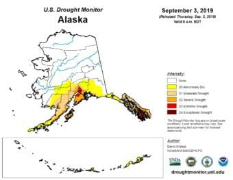 A map of Alaska showing the severity of drought conditions on Sept. 3, 2019.
