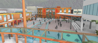 This rendering by MRV Architects shows an unfinalized concept for Sealaska Heritage Institute's downtown Juneau arts campus. It accompanied a Sept. 18, 2019, announcement about securing a federal grant for the project.