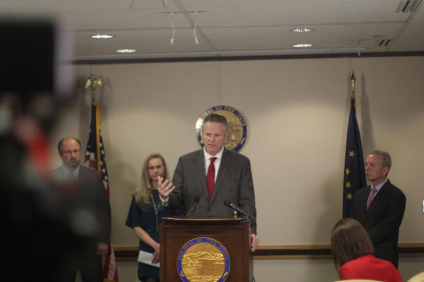 Alaska Gov. Mike Dunleavy speaks at a news conference at his Anchorage office on Friday, Sept. 27, 2019.
