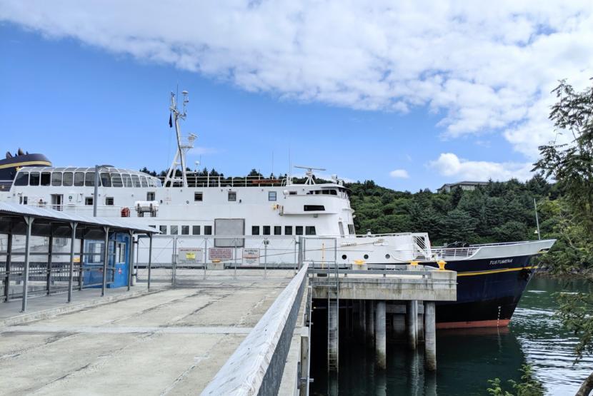 The MV Tustumena docked in Kodiak.