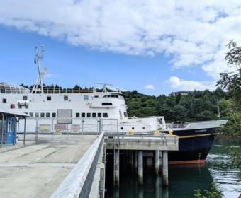 The MV Tustumena docked in Kodiak.